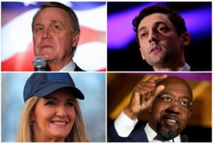 Republican U.S Senators David Perdue (top L) and Kelly Loeffler (bottom L) and their Georgia runoff election challengers, Democratic U.S. Senate candidates Jon Ossoff and Rev. Raphael Warnock, are seen in a combination of file photos.    REUTERS/Staff